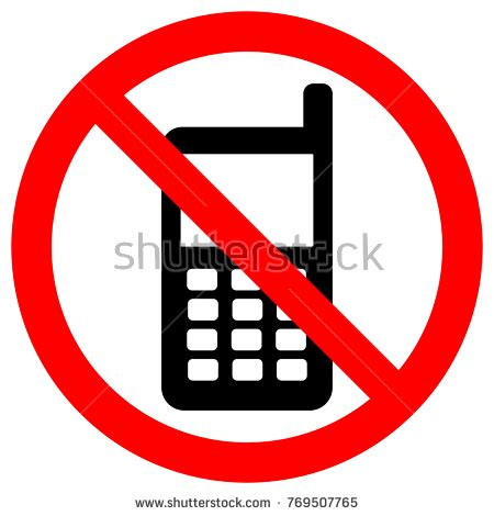 no cell phones zone sign keep stock vector 769507765