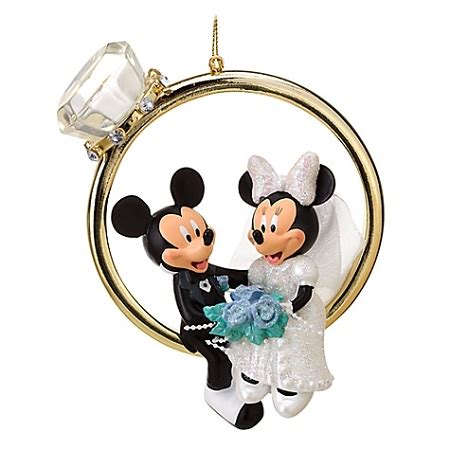 disney christmas ornament wedding ring minnie and