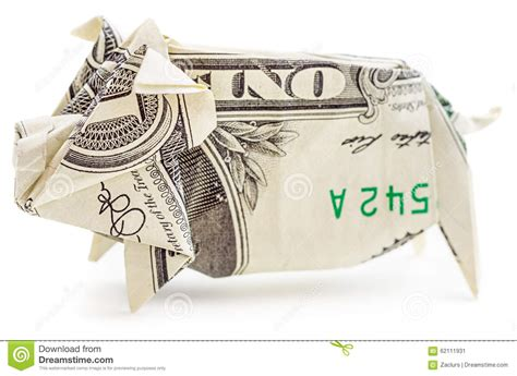 Origami Pig Dollar - dollar origami pig isolated stock photo image 62111931
