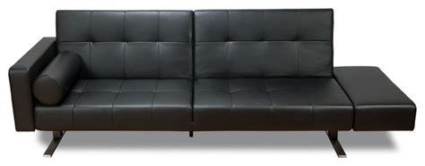 Modern Leather Futon by Marvelli Black Faux Leather Sofa Sleeper Modern Futons