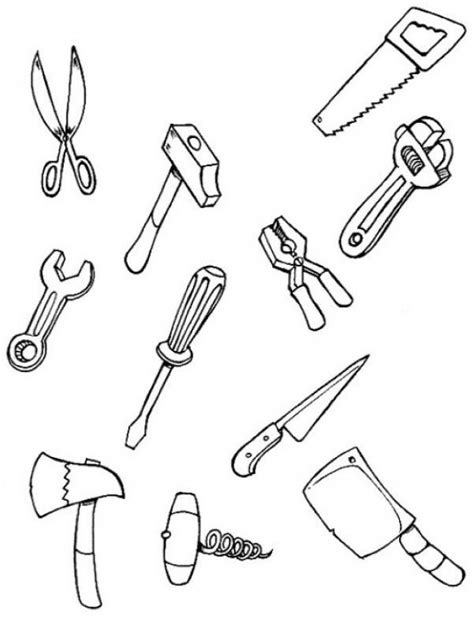 Color Each Tool Coloring Pages Hellokids Com Tools Colouring Pages