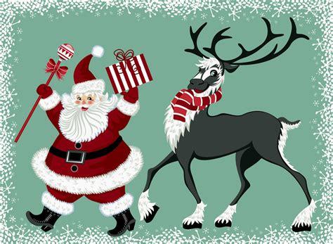 imagenes de santa claus y los renos banco de im 193 genes santa claus y su reno en una linda