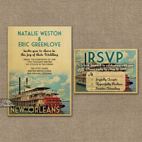 Wedding Invitations New Orleans by New Orleans Wedding Invitation Printable Vintage New Orleans