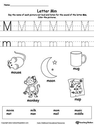 coloring pages that start with the letter m tracing and writing the letter m myteachingstation com