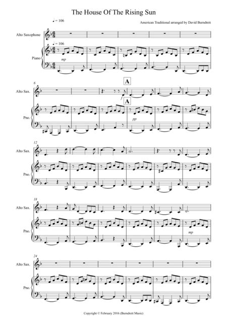 house of the rising sun piano music download house of the rising sun for alto saxophone and piano sheet music by