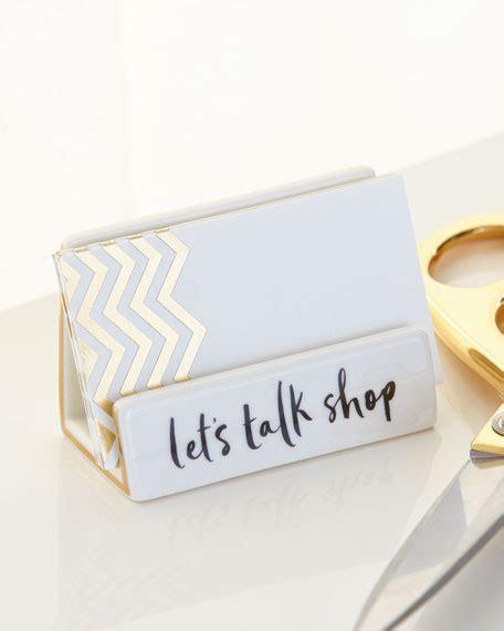gold business card holder desk kate spade york place desktop business card