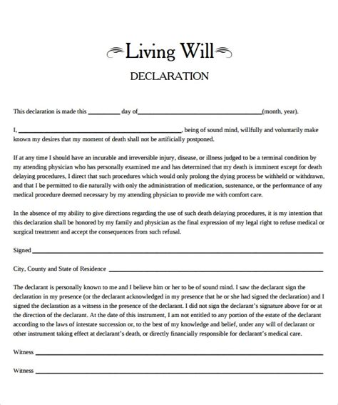 Living Will Template 7 Free Sles Exles Format Free Florida Will Templates