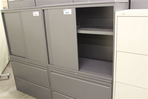 Haworth Lateral File Cabinet Haworth Premise Grey 2 Drawer Lateral File Cabinet With Overshelf