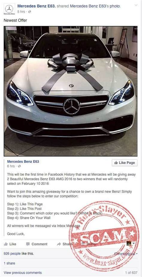 Adidas Giveaway Scam - fake facebook page mercedes benz giveaway autos post