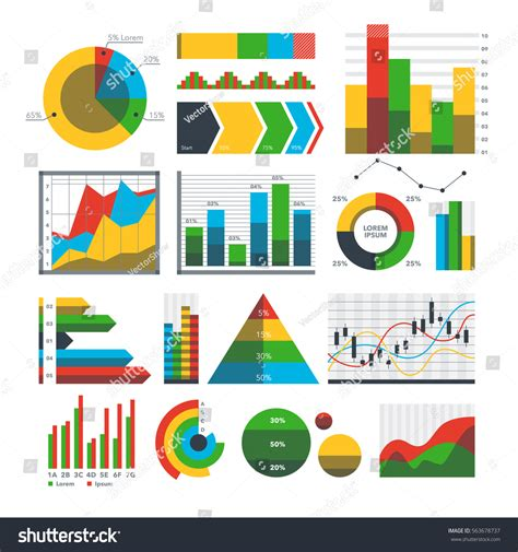 design elements report graph chart icons vector math finance stock vector