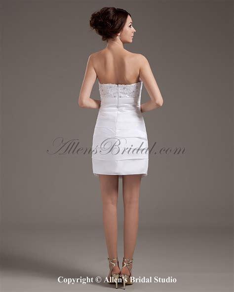 allens bridal strapless short sheath wedding dress