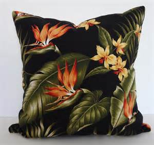 tropical print throw pillow birds of paradise by pillows4fun
