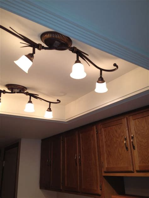 Light Fixtures For Kitchen Ceiling Convert That Recessed Fluorescent Ceiling Lighting In Your Kitchen To A Beautiful Trayed