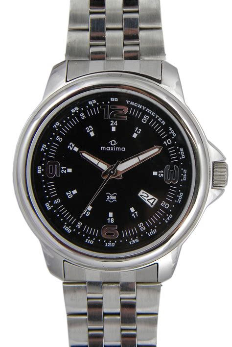 maxima silver date watches 24111cmgi for prices