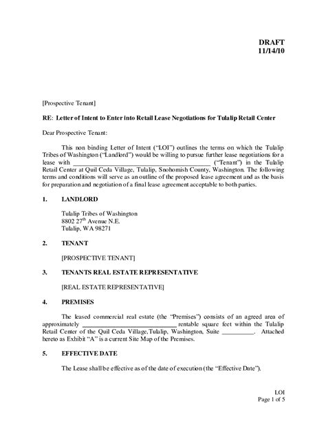 Letter Of Intent Template Real Estate Lease Sle Letter Of Intent To Lease Commercial Real Estate