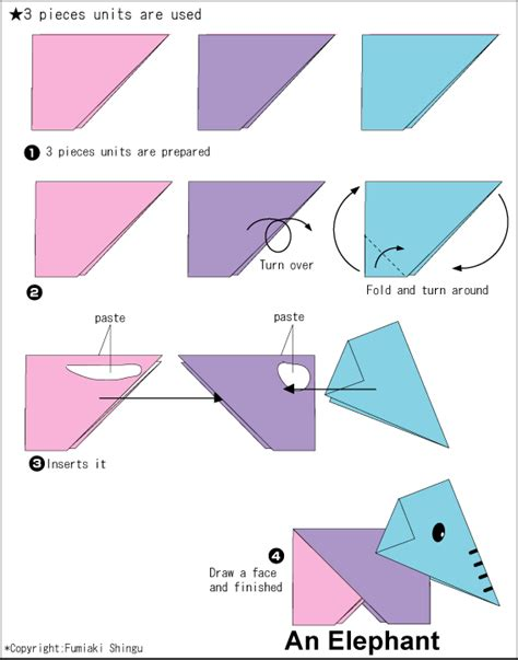 Elephant Origami Diagram - origami an elephant easy origami
