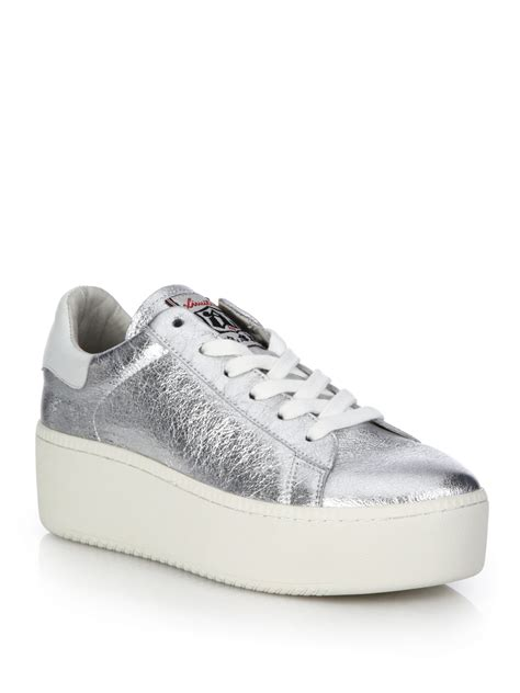 ash white sneakers ash cult metallic leather platform sneakers in white lyst