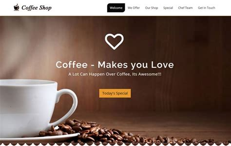 Free Coffee Website Templates Coffee Shop Website Free Download Webthemez