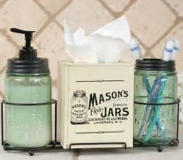 Country Bathroom Decor by Country Primitive Mason Jar Caddy Bathroom Set Soap
