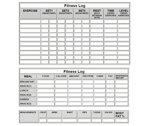 printable food fitness journal fitness log sheets and more meal log sheets workout