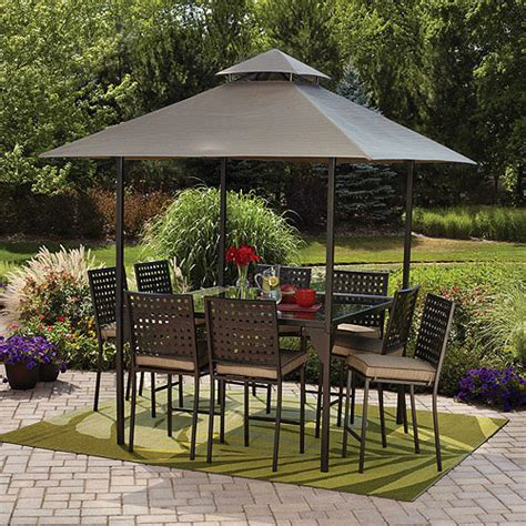walmart patio dining set mainstays d roma 10 gathering height patio dining