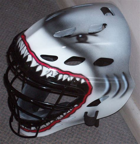 design for helmet white shark catchers helmet gray and white airbrushed