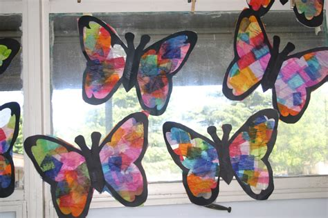 Tissue Paper Suncatcher Craft - butterfly suncatchers tissue paper craft ted s