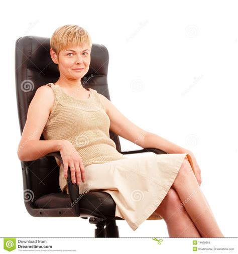 woman in armchair mature attractive woman in armchair stock image image