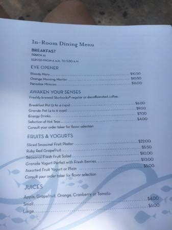 room service in paradise menu room service menu kuva the royal at atlantis paradise island tripadvisor