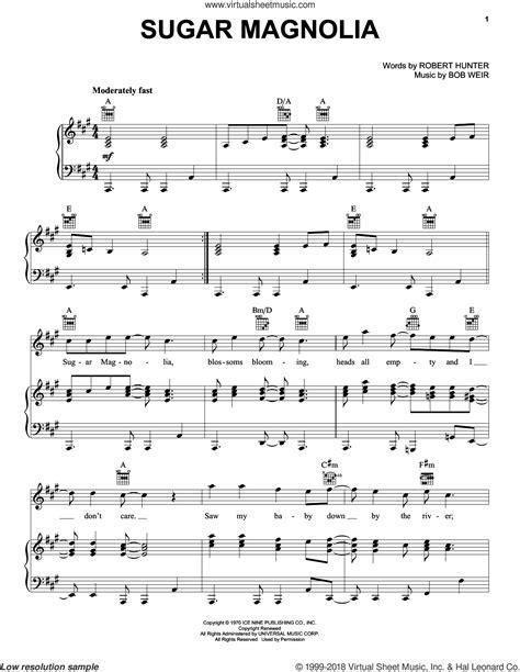 grateful dead sugar magnolia how to play the main riff dead sugar magnolia sheet music for voice piano or guitar