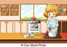 vrouw in keuken vrouw het koken keuken maaltijd vrouw illustration