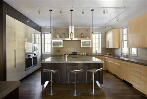 Contemporary Kitchen Pendant Lighting Lda Architects Green Gambrel Leed Certified Home Features Niche Pharos Pendants