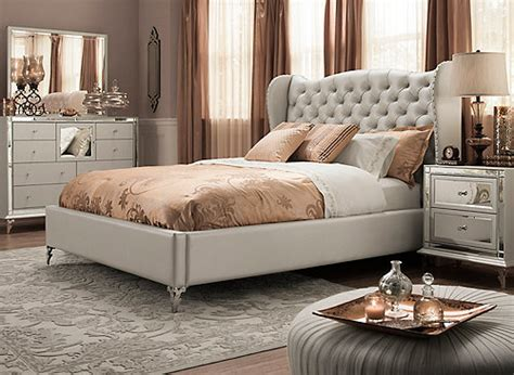 hollywood loft  pc queen bedroom set frost mirrored raymour flanigan