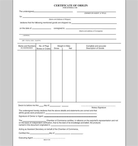 certificate of origin form template certificate of origin template madinbelgrade