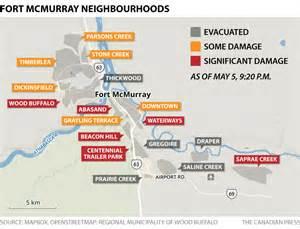 fort mcmurray wildfire map of neighbourhoods affected
