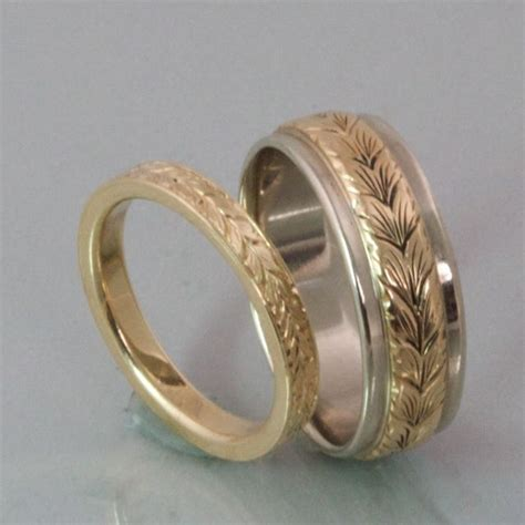 leaf pattern mens ring wedding band engraved patterns modern heirloom hers