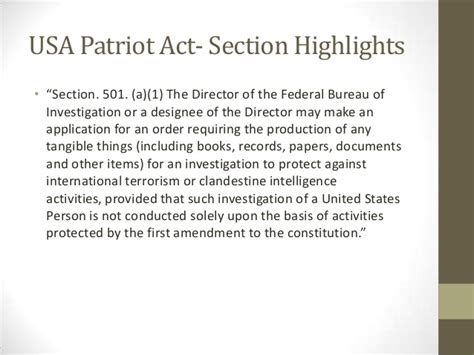 usa patriot act section 215 szkolar section 215 policy issue brief presentation