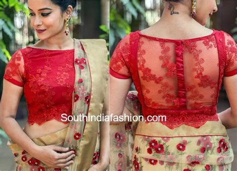 saree net blouse designs 5 stylish net blouse designs south india fashion