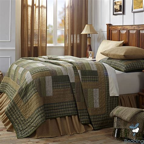 Green Brown Plaid Rustic Lodge Log Cabin Country Home Rustic Cabin Bedding Sets