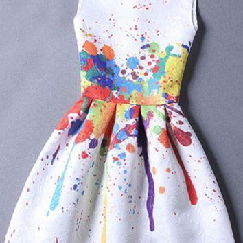 Mini Dress Yellow Paint installation white purple blue from xo best of