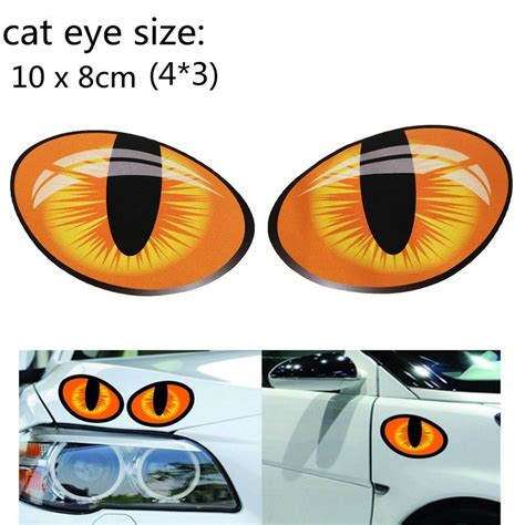 stiker 3d mobil model mata kucing 2pcs orange