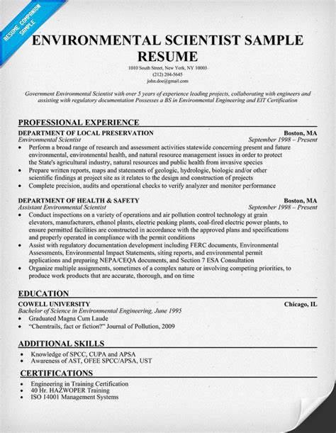 Environmental Researcher Sle Resume by Environmental Scientist Resume Exle Http Resumecompanion Scientist My