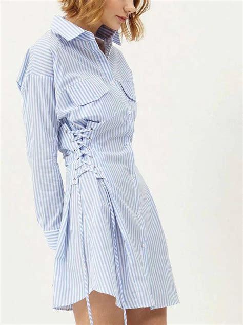 Sleeve Lace Up Striped Shirt blue stripe lace up side sleeve shirt dress choies