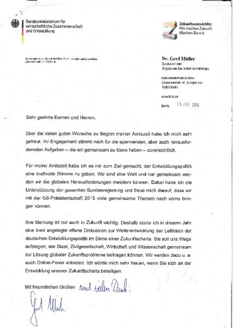 Anschreiben Sehr Geehrte Damen Und Herren Du Hast Post Brief Entwicklungsminister Gerd M 252 Ller An Die Unterst 252 Tzer One One