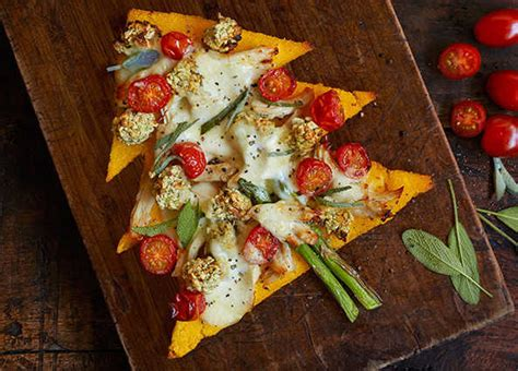 recipe polenta christmas tree pizzas sainsbury s