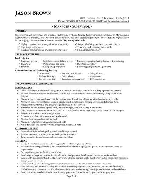 resume for restaurant supervisor resume ideas
