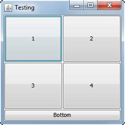 using gridlayout java java swing need a foursquare and bottom button layout