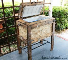 white rustic wood cooler box made from pallets