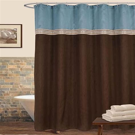 shower curtain brown and blue terra blue and brown shower curtain lush decor shower