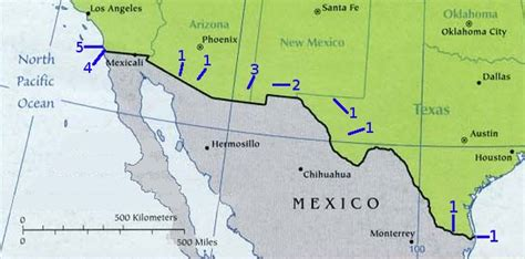 texas mexico border map united states mexico border map